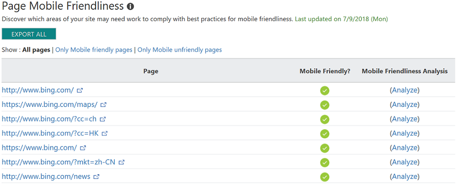 Page Mobile Friendliness