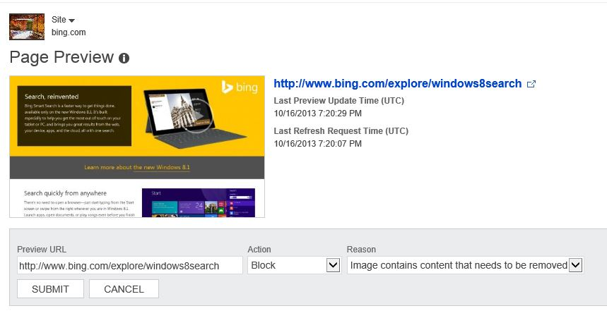 The Bing Page Preview Tool in Webmaster Tools