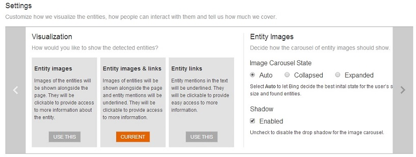 Customize settings for the Bing Knowledge Widget