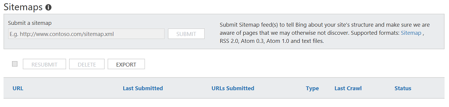 how to submit sitemaps bing webmaster tools