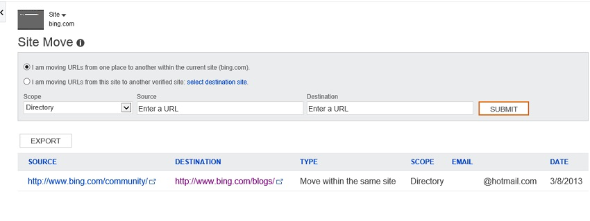 The Site Move tool in Bing Webmaster Tools